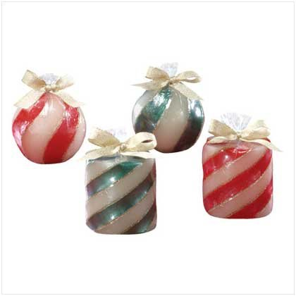 4 PC. RED & GREEN XMAS CANDLES