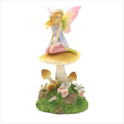 FAIRY ON MUSHROOM WITH LED LIGHT