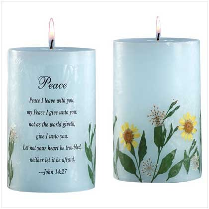 PEACE DRY FLOWERS BLUE CANDLE