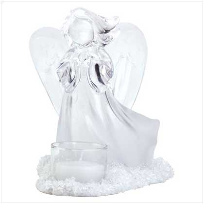 FROSTED ANGEL TEALIGHT CANDLEHOLDER