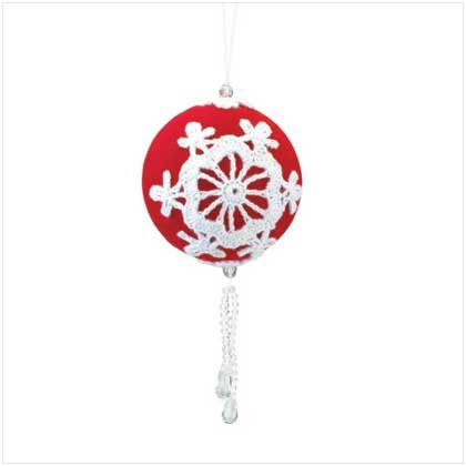 RED XMAS BALL WITH BEADS ORNAMENT