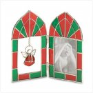 RED AND GREEN ANGEL STAINED GLASS FRAME