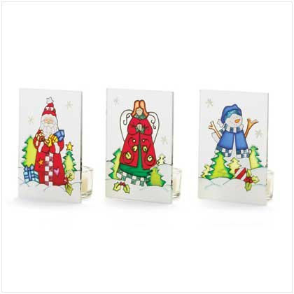 SANTA, ANGEL AND SNOWMAN CANDLEHOLDERS