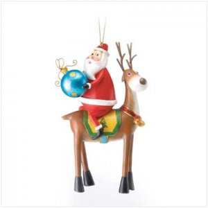 SANTA ON REINDEER ORNAMENT