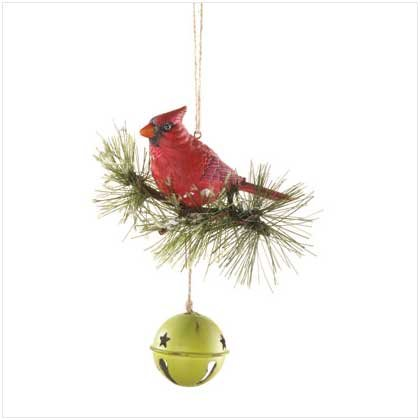 CARDINAL ON BELL DOORKNOB ORNAMENT