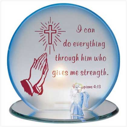 GLASS PRAYING HANDS CANDLEHOLDER