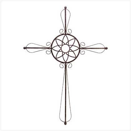 WROUGHT IRON METAL WALL CROSS