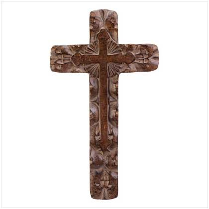 """""""WOOD"""" CARVED WALL CROSS"""