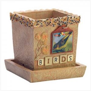 BIRDS SCRAPBOOK CACHE POT