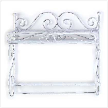 DISTRESSED WHITE PAPER TOWEL HOLDER