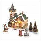 6 PIECE LIGHTED CHURCH VILLAGE