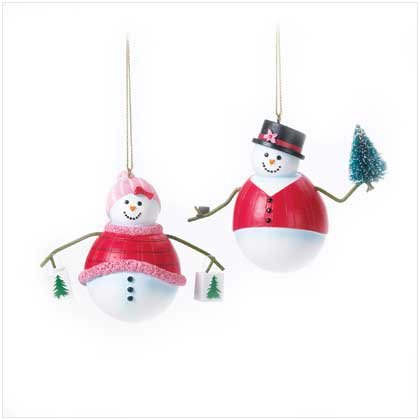 PERFECTLY PLAID SNOWMEN ORNAMENTS