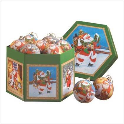 SANTA BALL ORNAMENT BOX SET