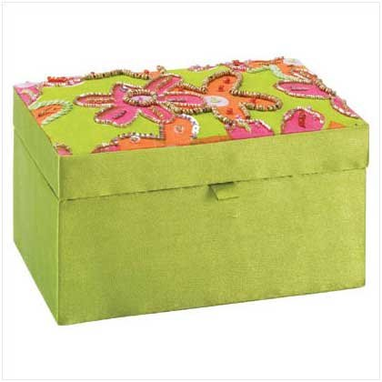 FLORAL FABRIC JEWEL BOX WITH MIRROR