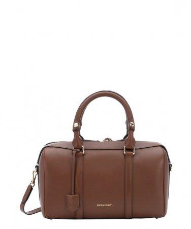 Burberry Authentic Shoulder Leather Handbag Alchester Armour Bowling Bag - Tan