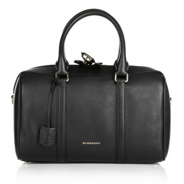 Burberry Authentic Shoulder Leather Handbag Alchester Armour Bowling Bag - Black
