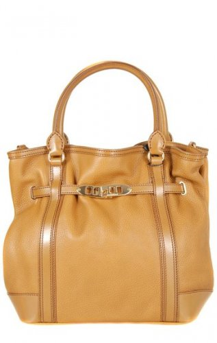 Burberry Authentic Leather Handbag Canvas Lining 'Golderton' Tote Bag -Mid Camel