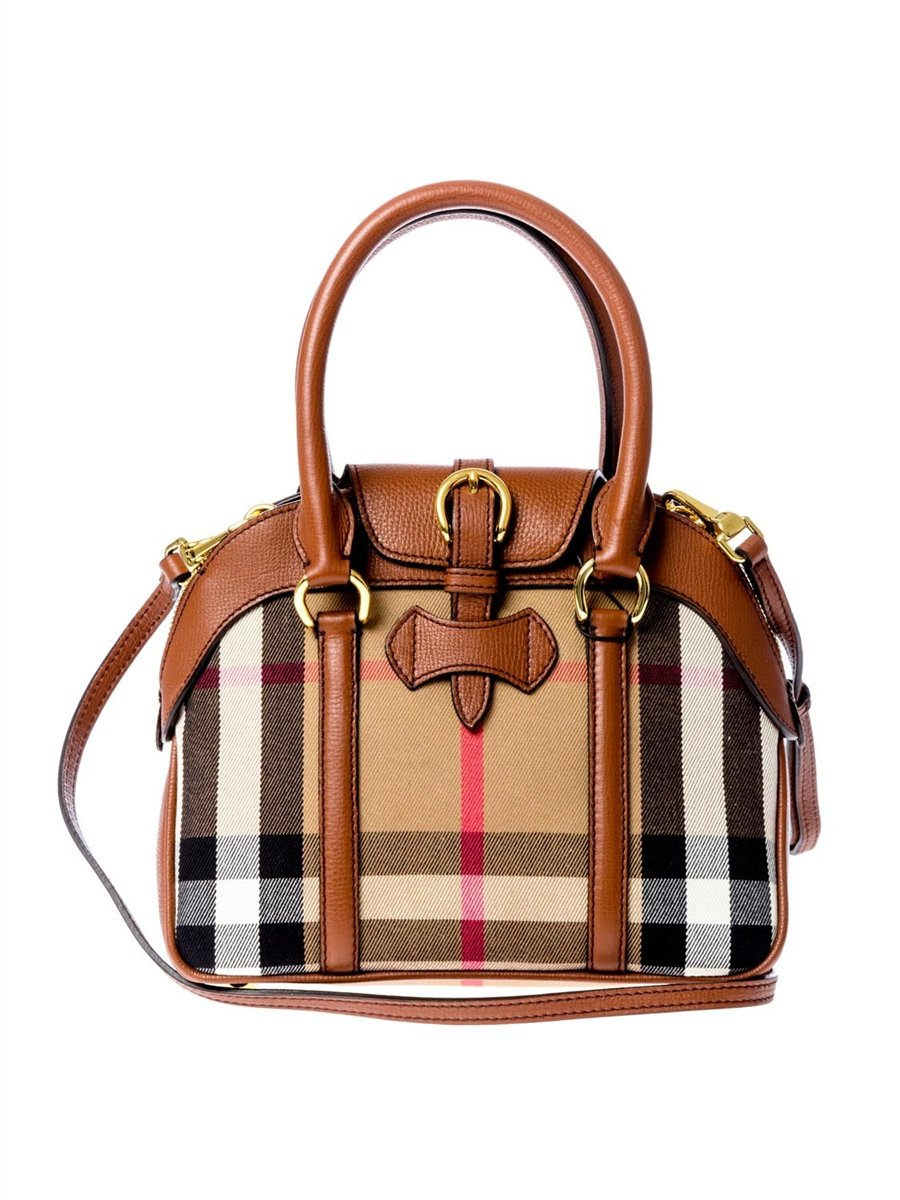 Burberry Authentic Leather and Canvas Handbag Small ...
