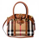 Burberry Authentic Leather and Canvas Handbag Small Milverton Tote Bag - Tan