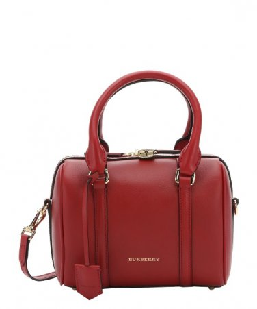 Burberry Authentic Leather Satchel Handbag Small Convertible Bowling Bag - Parade Red