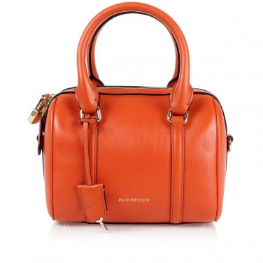 Burberry Authentic Leather Satchel Handbag Small Convertible Bowling Bag - Vibrant Orange