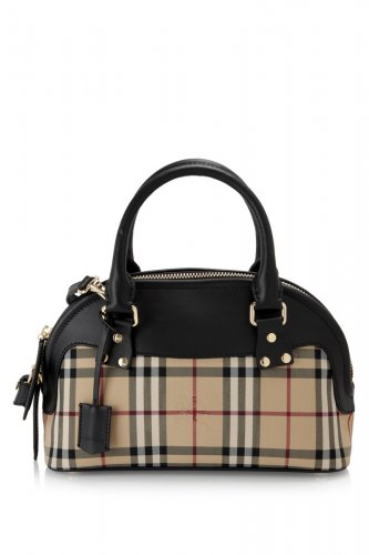Burberry Authentic Leather Small Horseferry Check Bloomsbury Satchel Handbag