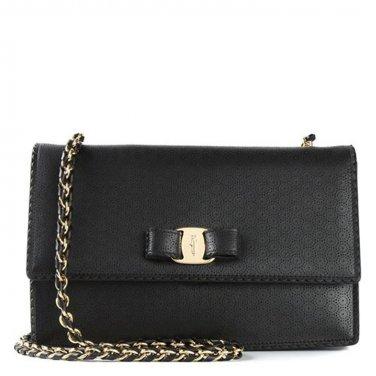 Salvatore Ferragamo Authentic Leather Handbag 21F003 Vera Shoulder Bag - Black
