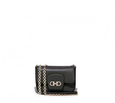 Salvatore Ferragamo Authentic Leather Handbag 21E080 Paris Shoulder Bag - Black