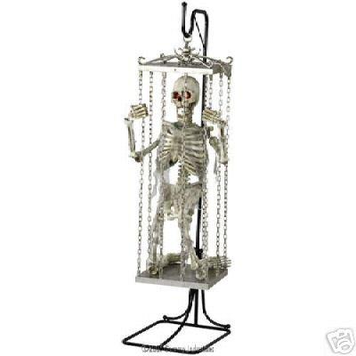 6' Animated Talking Illuminated Cage Shaking Skeleton