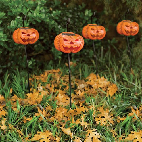 Halloween Jack-O-Lantern / Pumpkin Outdoor Solar Light Set