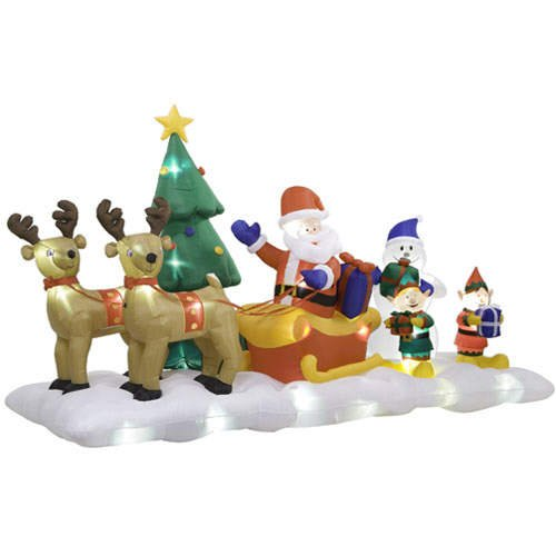 Christmas Holiday Inflatable / Airblown Santa Sleigh Scene w/ Lights & Music Show