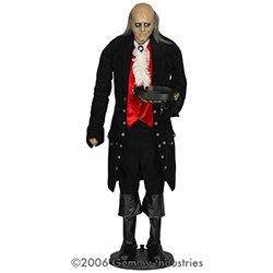 Animated Creepy Butler with Black Outfit & Little Hair (6 ft.)