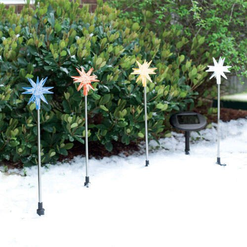 Twinkle Stars Christmas Holiday Solar LED Light Set  (8 pc.)