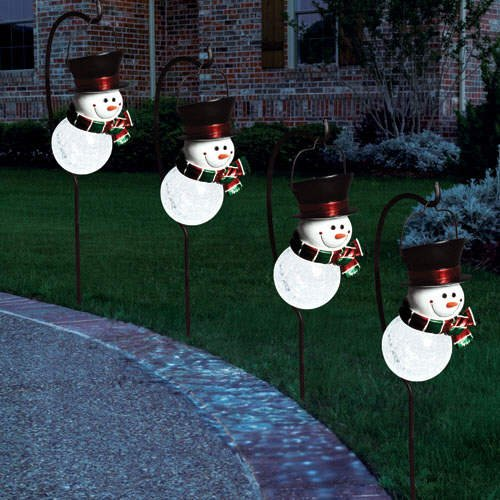 Snowman Solar Light Christmas Holiday Set  (4 pk.)