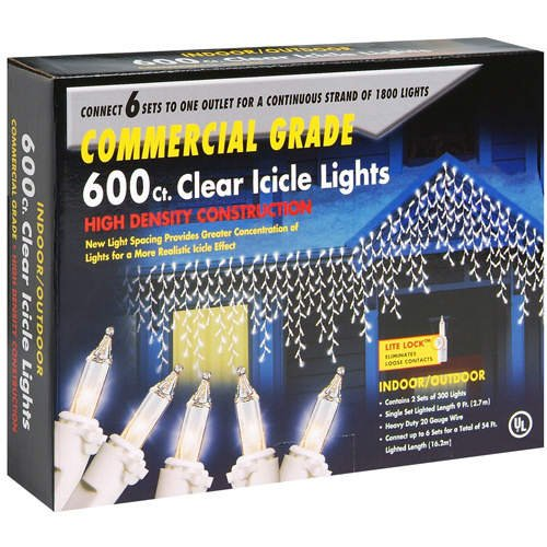 Commercial Grade Clear Icicle Christmas Holiday Light Set (two 9 ft. strands, 300 lights each)