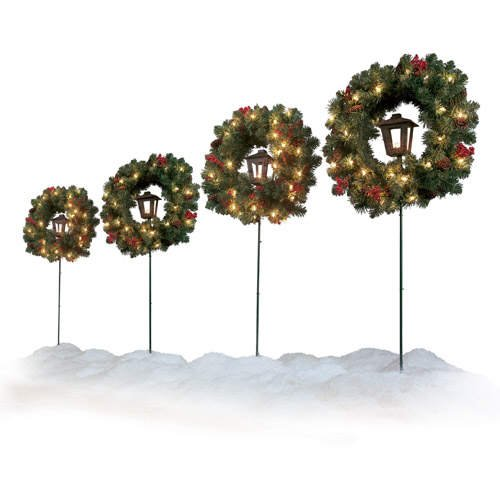 Christmas Holiday Lighted Wreaths on Stakes (4 pcs.)