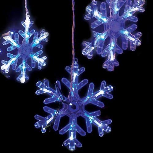 Christmas Holiday Snowflake LED Curtain Lights  (8 ct.)