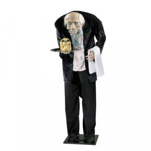 "60"" Tall Halloween Talking Butler w/ Skull"