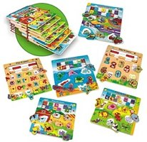 Pack Play and Learn Wood Puzzle Set