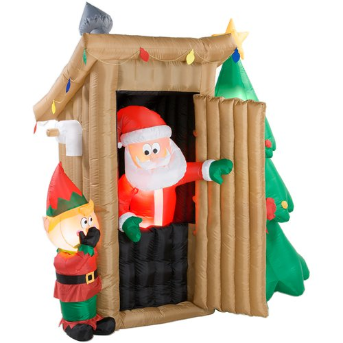 Holiday Animated Airblown Inflatable - Outhouse Santa  (6+ ft.)