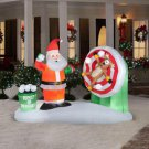 Christmas Holiday Airblown Inflatable Animated Snowball Throwing Scene with Santa