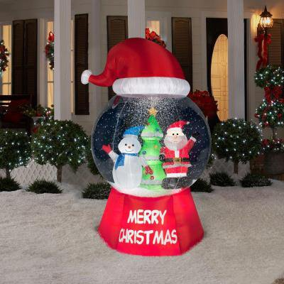 Holiday Airblown Inflatable - Snow Globe with Christams scene and Santa Hat