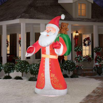 Christmas Holiday Airblown - Large Lighted Plush Old World Style Santa  (9.5 ft.)