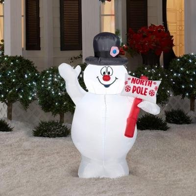 Christmas Airblown Inflatable - Frosty Snowman with North Pole Sign