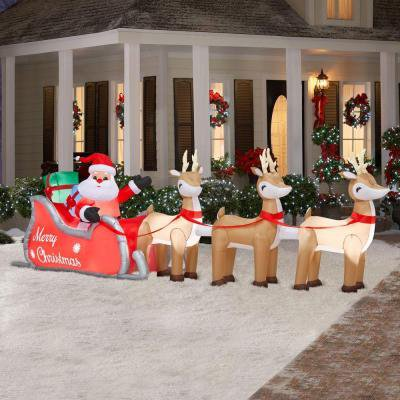 Christmas Airblown / Inflatable Santa with Lighted Sleigh and Reindeer  (A Giant 16 ft. long )