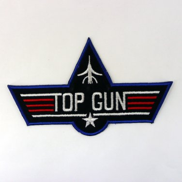 TOP GUN IRON ON PATCHES AIR FORCE EMBROIDERED PILOT NAVY FIGHTER SEW LOGO FN