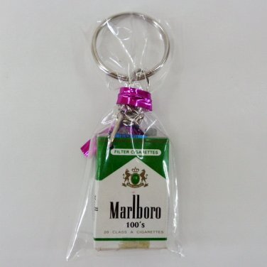 MARLBORO GREEN DOLLHOUSE CIGARETTES MINIATURE KEYCHAIN PACK KEYRING TOBACCO FN