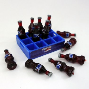 PEPSI DOLLHOUSE MINIATURE 12 BOTTLES AND TRAY SODA SOFT DRINK SOUVENIR REMOVE FN