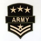 ARMY IRON ON PATCHES EMBROIDERED EMBLEM SEW SERGEANT STRIPE MILITALY BADGE FN
