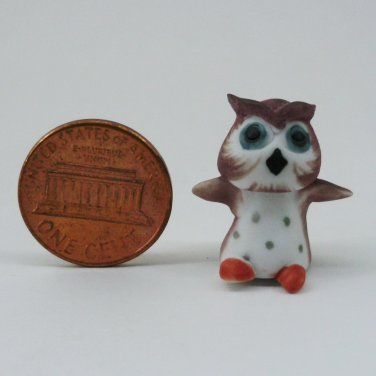 OWL MINIATURE DOLLHOUSE CERAMIC 100% HANDCRAFT DECOR HANDMADE BIRD FIGURINE FN